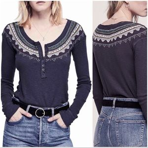 •FREE PEOPLE•Gray Fairisle Embroidered Thermal Top